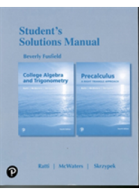 Student's Solutions Manual for College Algebra and Trigonometry and Precalculus   Ratti J. S., ISBN:  9780134699073