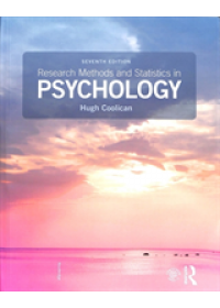 Research Methods and Statistics in Psychology   Coolican Hugh (Coventry University UK), ISBN:  9781138708969